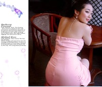 New Sexy Hot Strapless Stretchy Rose Decoration Pink Lace Satins Clubwear Party Dress 3Sizes 51