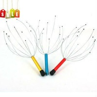 20pcs/lot Neck Scalp Massage Head Massager Equipment Stress Relax stainless steel handle manual health care