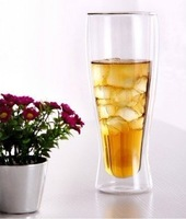 2pcs /Pack Double Wall Glass Beer Mug 600ml Exported To USA/Free Shipping/Wholesaels