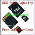 Free shipping 8GB Micro SD Card Class 6 ,Memory Card,Micro SD 8GB,Full capacity ,High speed, Free adapter+case,MSD-08