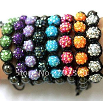Promotion Cheapest Price Shamballa bracelet 5 pcs resin disco beads