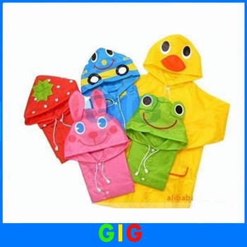 Funny Rain Coat Kids Raincoat Rainwear Rainsuit Waterproof Garment Auto-Duck-Bunny-Frog