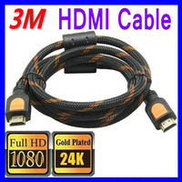 Free Shipping HDMI Cable 3M Gold 1.4A Video HDTV 1080P 3D HDMI 1.4 19 pin Ethernet Channel