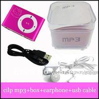 Fashion kity style metal mini clip mp3 player with TF slot  card mp3+USB+Earphone+Box , 100pcs/lot  free DHL