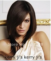 Glamorous Lady Hairstyle Medium Straight about 12Inches Brown Natural Lace Front Wig Free Shipping