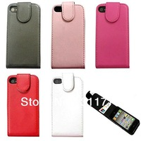 Leather Case For iPhone 4G 4S,Flip Leather Case Cover For iPhone 4,50pcs Free Shipping