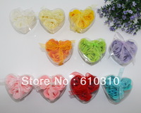 Free shipping Discount High quality multicolor rose Soap flower(3pcs/box.24boxes/lot) for romantic bath and valentine's gift.