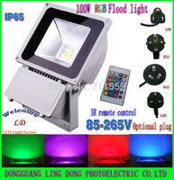 1PCS/LOT 100W RGB LED Flood Light Waterproof 16 Color RGB Remote Control spotlight Floodlight 85-265V Free shipping FedEX