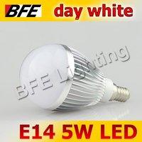 4pcs/Lot E14 5 LED 5W Cold White Bubble Ball Globe Light Bulbs LED Lamp Bright Free Shipping Hot Wholesale