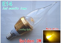 Free shipping! E14 candle bulb,  3W high power candle lamp, white and warm white light, AC110-220V working
