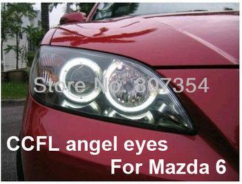 free shipping, Ultra bright headlight illumination CCFL, Angel Eyes kit for Mazda 6, CCFL Angel eye, ccfl angel eyes kit