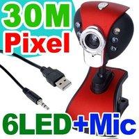 USB 2.0 30M USB 6 LED Webcam Web Cam Camera PC Laptop+Mic +CD free shipping