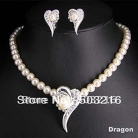 High Quality Clear Crystal Silver Plated Heart Pendant  Necklace Earrings Fashion Pearl Wedding Jewelry Set
