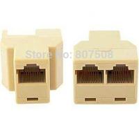 (100pcs/lot) 3ports RJ45 CAT5 6 Ethernet cable LAN Port 1 to 2 Socket RJ45 Splitter Connector Adapter