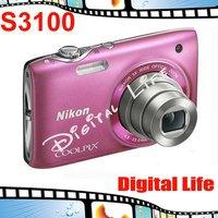 S3100 Original Nikon COOLPIX S3100 5x Optical Zoom,4x Digital Zoom,14MP Sensor Resolution Digital Camare Free Shipping!!!