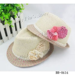 Double Flower Baby Girls Straw Constructe Fedora Hat Sun Hat TRILBY 2-5 years baby 10pcs/lot Free Shipping(China (Mainland))