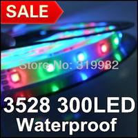 Free shipping, 5M 3528 60LED/M 300LED RGB Waterproof, 12V Flexible LED lighting strip, SMD 3528 colorful RGB led strip