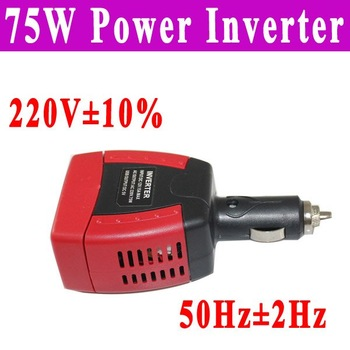 Free shipping car power inverter usb dc 12v to ac 220v 75W Car Power Inverter with usb  red connector adapter sine wave