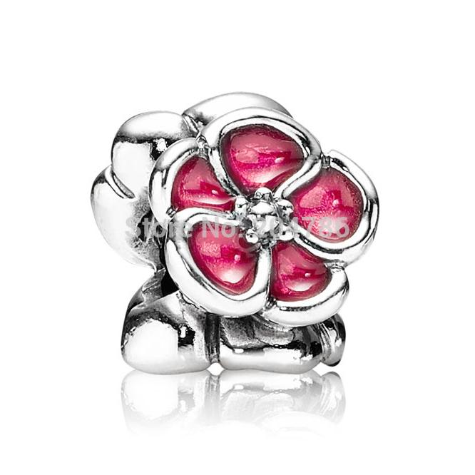 925 Sterling Silver Bead Flowers Enamel Charm For Snake Chain European Bracelets #054(China (Mainland))