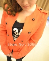 Free Freight  bright orange Full sheet  turn-down collar women suit with 2012 newest style