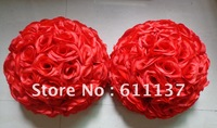 "Free shipping 12"" Artificial silk kissing roses flower ball (30CM)"
