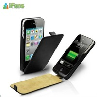 Factory price 100pcs/lots iFans External leather backup emergency rechargeable battery case for  iPhone 4/4S