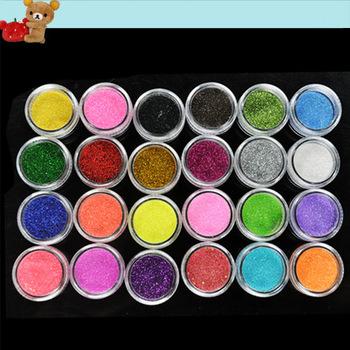 2012 New Arrival 24 Colors Metal Shiny Acrylic Nail Powder Glitter Dust Kit UV Stamp Art Tool 3069