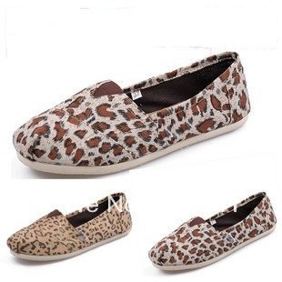 Fashion Women's Leopard Cheetah Animal Print Flat Canvas Shoes,out door casual comfortable slip-on loafers shoe,Gold,W5-W10