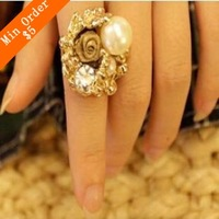 2015 New Fashion Imitation Pearl Lace Roses Ring For Girl R205
