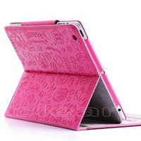 New Fashion 1 Pcs Hot  Pink Magnetic PU Leather Shell Housing Bag Back Cover Case For the New iPad 2 / iPad 3 With Stand