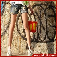Sale New Fashion women's designer folding washing cotton denim shorts, Graffiti short pants, short jeans for lady S M L WA173
