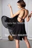 2014 Hot Sale Freeshipping Natural Chiffon None Vestido De Festa Dress Lady New Asymmetrical Cut Bareback Sleeveless Dress #8002