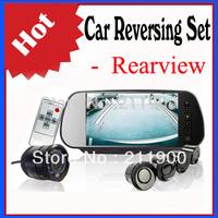 Car Reversing Set - Rear view Mirror - 4 Sensors - Rearview Camera