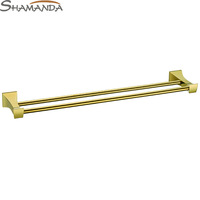 Free Shipping Solid Brass Made Golden Finish Double Towel Bar,Towel holder,Towel Rack,Bathroom accessories Products-67009