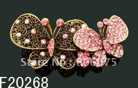 Wholesale vintage Butterfly rhinestone fashion alloy hair clip hair ornament  Free shipping 12pcs/lot Mixed colors F20268