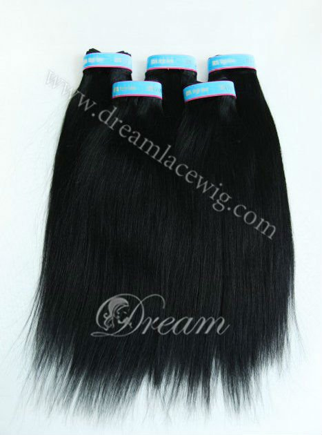 stock factory outlet price 10-20inch #1 yaki straight remy Brazilian human hair weft(China (Mainland))