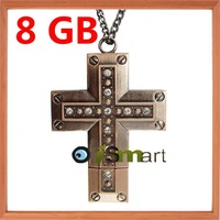 Free Shipping + Really Capacity 8GB Metal Jewelry Cross USB 2.0 Flash Memory Stick Drive Pen+Free Necklace
