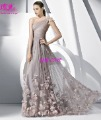 Elegant 2013 New Fashion A-Line Tulle Floor length Monarch/Royal One-shoulder Evening Dresses Prom Gowns Party Bridal Hot Sell