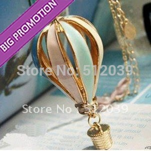 Lowest Price Stylish Fashion Vintage Multicolor Hot Air Balloon Necklaces Wholesale Long Necklace For Girl Lady Free Shipping(China (Mainland))