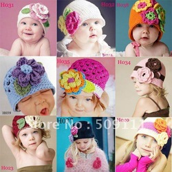 Spring Knitted Girls' Flower Cap Handmade Crochet Baby Flower Hat Hand Baby Hat Kids Infant Beanie 10pcs HT01(China (Mainland))