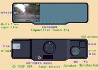 Car rearview mirror GPS+HD 720P CAR DVR+radar detector+bluetooth CAR kit+Parking camera+Free  shipping DHL EMS