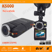 Promotion Price Carcam Full HD 1080P K5000 Car DVR with Better 720P Record + Infrared Vision + G-Sensor + Free Shipping