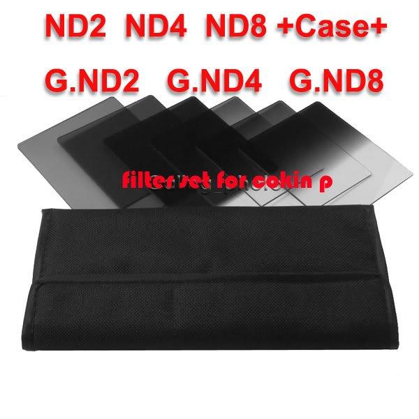 6pcs ND2 ND4 ND8 + Gradual ND2 4 8 filter set for cokin p series + 6pcs filter set bag free shipping+tracking number(China (Mainland))