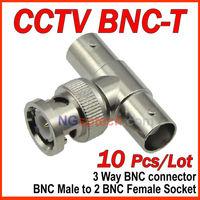 10pcs/lot BNC Male to 2 BNC Female Socket 3 Way BNC connector for CCTV Camera