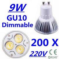 200X High power CREE GU10 3x3W 9W 220V Dimmable Light lamp Bulb LED Downlight  Led Bulb Warm/Pure/Cool White