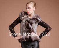 Free Shipping Winter Coat Retail/wholesale/OEM Fashion Fox fur Jacket Natural Woman Rabbit Fur Knitted Vest