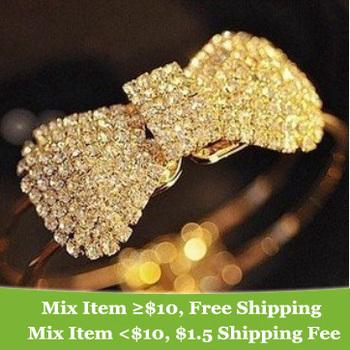 Fashion  Shine luxurious full drill Crystal Rhinestone bow  bracelet AAA!!!