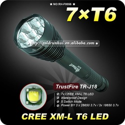 1PC Trustfire TR-J18 Flashlight 5 Mode 8000 Lumens 7 X CREE XM-L T6 LED by 18650 or 26650 Battery Waterproof High Power Torch(China (Mainland))