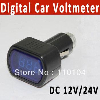 DC 12V/24V Digital Red LED Auto Car Battery Voltmeter Voltage Gauge Volt Meter free shipping