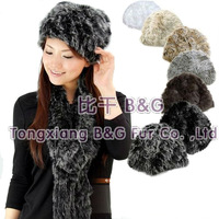 BG11340 New Arrival Knitted Hat Women  Many Colors  Wholesale Genuine Rabbit fur Beanie Lady  Winter Hat